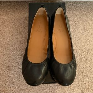 J. Crew Factory Anya leather ballet flats black